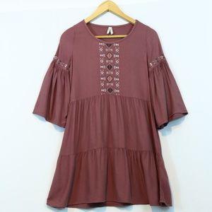 Mudd  Embroidered Tiered Boho Tunic Dress